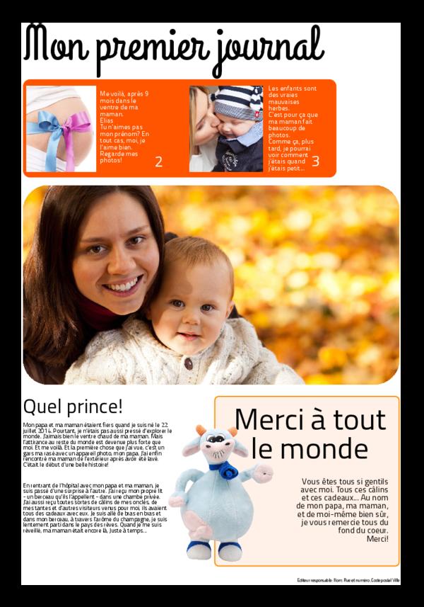 Créez votre propre journal modèle journal de naissance | Happiedays